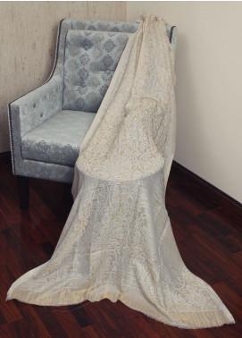 Sanaulla Exclusive Range  Jamawar Tissue Shawl 19-MIR-178 Fawn - Winter Collection