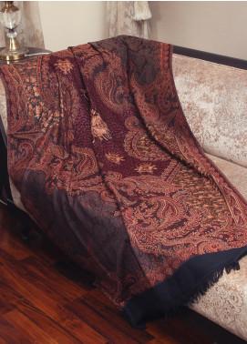 Sanaulla Exclusive Range  Jamawar Embroidered Shawl 19-MIR-280 Dark Brown - Winter Collection