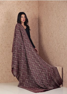 Sanaulla Exclusive Range  Jamawar Weaved Shawl AKP-162 Maroon - Winter Collection