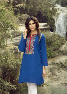 Festive Embroidered Khaddar Stitched Kurtis BLUE CHARM