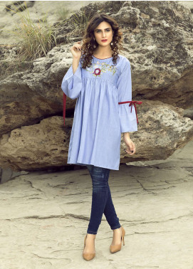 Festive Embroidered Cotton Stitched Kurtis BLUE FLORAL BUNCH
