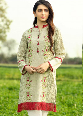Festive Embroidered Lawn Stitched Kurtis F19SE130 Green