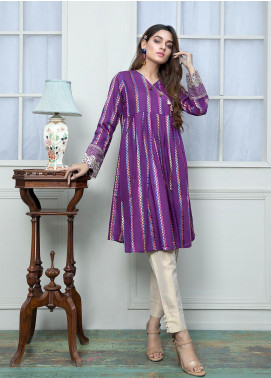 Festive Embroidered Jacquard Stitched Frock F19SE148 Purple