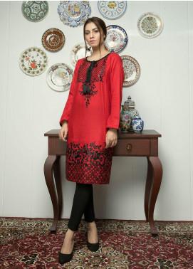 Festive Embroidered Lawn Stitched Kurti F19SE152 Red