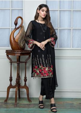 Festive Embroidered Chiffon Stitched 2 Piece Suit F19SE160 Black