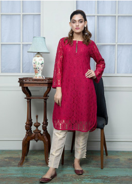 Festive Embroidered Cotton Net Stitched Kurtis F19SE162 Maroon