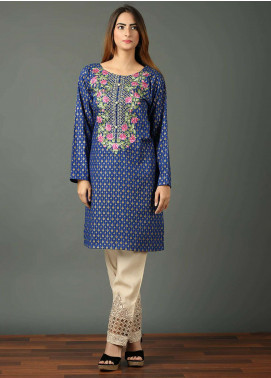 Festive Embroidered Khaddar Stitched Kurtis F19WE101 Blue