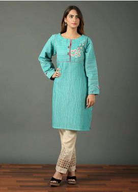Festive Embroidered Khaddar Stitched Kurtis F19WE105 Turquoise