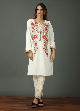 Festive Embroidered Khaddar Stitched Kurtis WHITE MEADOWS