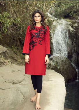 Festive Embroidered Khaddar Stitched Kurtis RED DREAM