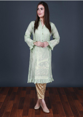 Nargis Shaheen Embroidered Silk Stitched 2 Piece Suit CP-07 Light Green