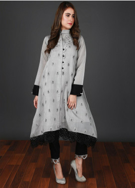 Nargis Shaheen Embroidered Cotton Net Stitched 2 Piece Suit CW-088 Grey