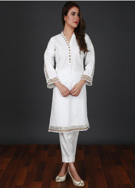 Nargis Shaheen Embroidered Cotton Stitched 2 Piece Suit CW-094 Self White