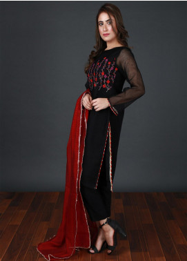 Nargis Shaheen Embroidered Cotton Net Stitched 3 Piece Suit CW-097 Black