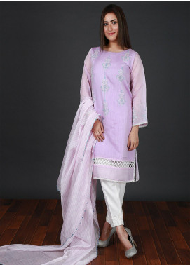 Nargis Shaheen Embroidered Cotton Net Stitched 3 Piece Suit CW-098 Purple