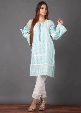 Pearl Closet Embroidered Cotton Net Stitched Kurtis Chicken Kari EK003 Ferozi