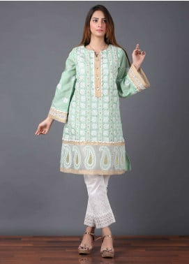 Pearl Closet Embroidered Cotton Net Stitched Kurtis Ethnic Soul EK005 Green