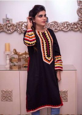 Laali Embroidered Cotton Stitched Kurtis Lal-013