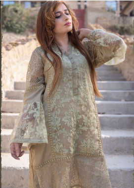 Laali Embroidered Organza Stitched Kurtis Lal-017