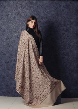 Sanaulla Exclusive Range Embroidered Pashmina  Shawl 19-002 - Kashmiri Shawls