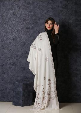Sanaulla Exclusive Range Embroidered Pashmina  Shawl 19-20- AKP-175 Off White - Kashmiri Shawls