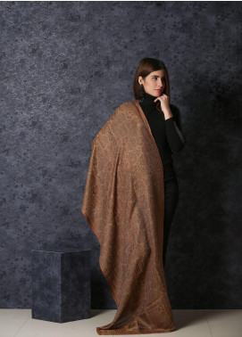 Sanaulla Exclusive Range Embroidered Pashmina  Shawl 19-20- MIR-13 Rust - Kashmiri Shawls