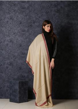 Sanaulla Exclusive Range Embroidered Pashmina  Shawl 19-20- MIR-33 Off White - Kashmiri Shawls