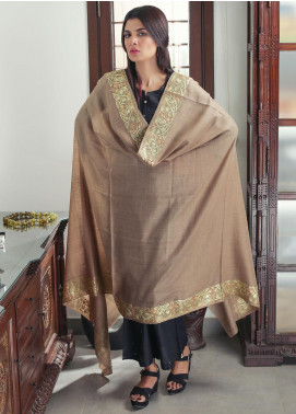 Sanaulla Exclusive Range Embroidered Pashmina  Shawl 19-AKP-08 Brown - Kashmiri Shawls