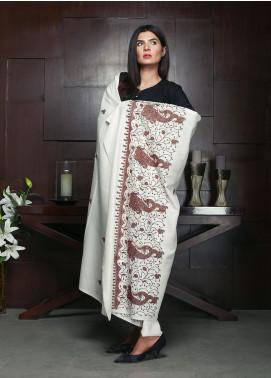 Sanaulla Exclusive Range Embroidered Pashmina Shawl 19-AKP-112 Dark Brown - Kashmiri Shawls