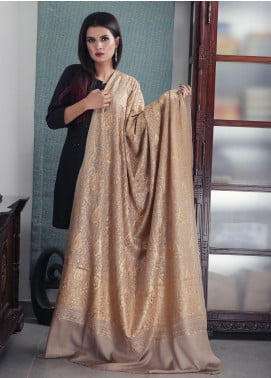 Sanaulla Exclusive Range Embroidered Pashmina  Shawl 19-AKP-123 Brown - Kashmiri Shawls