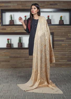 Sanaulla Exclusive Range Embroidered Pashmina Shawl 19-AKP-126 Beige - Kashmiri Shawls