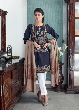 Sanaulla Exclusive Range Embroidered Pashmina Shawl 19-AKP-130 Dark Brown - Kashmiri Shawls
