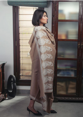 Sanaulla Exclusive Range Embroidered Pashmina  Shawl 19-AKP-135 Brown & White - Kashmiri Shawls