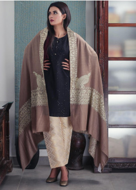 Sanaulla Exclusive Range Embroidered Pashmina  Shawl 19-AKP-176 Brown - Kashmiri Shawls