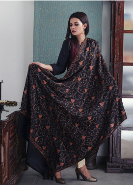Sanaulla Exclusive Range Embroidered Pashmina  Shawl 19-AKP-198 Black - Kashmiri Shawls