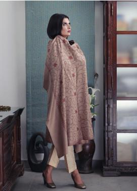 Sanaulla Exclusive Range Embroidered Pashmina  Shawl 19-AKP-204 Fawn - Kashmiri Shawls