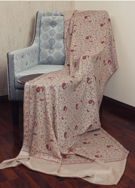 Sanaulla Exclusive Range Resham Embroidered Pashmina  Shawl 19-AKP-211 Fawn - Kashmiri Shawls