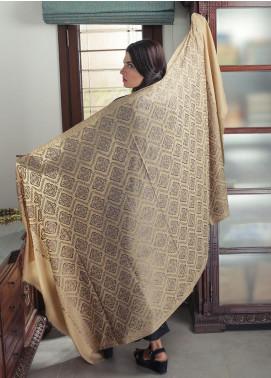 Sanaulla Exclusive Range Embroidered Pashmina  Shawl 19-AKP-215 Fawn - Kashmiri Shawls