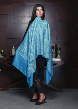Sanaulla Exclusive Range Embroidered Pashmina  Shawl 19-AKP-248 Sky Blue - Kashmiri Shawls