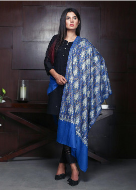 Sanaulla Exclusive Range Embroidered Pashmina Shawl 19-AKP-251 Royal Blue - Kashmiri Shawls