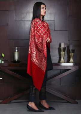 Sanaulla Exclusive Range Embroidered Pashmina Shawl 19-AKP-253 Red - Kashmiri Shawls