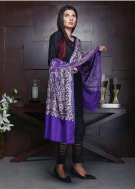 Sanaulla Exclusive Range Embroidered Pashmina Shawl 19-AKP-264 Purple - Kashmiri Shawls