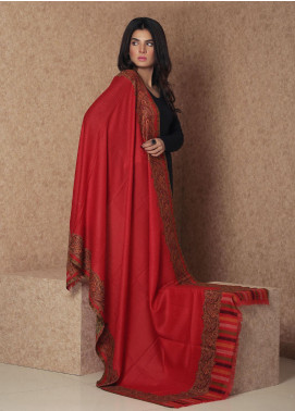 Sanaulla Exclusive Range Embroidered Pashmina  Shawl 19-AKP-36 Red - Kashmiri Shawls