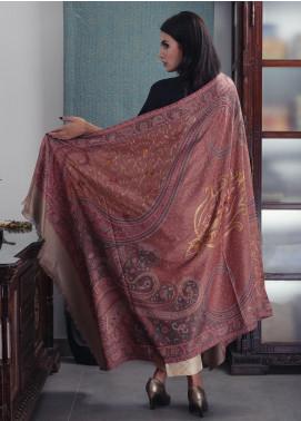Sanaulla Exclusive Range Embroidered Pashmina  Shawl 19-AKP-45 Dark Fawn - Kashmiri Shawls