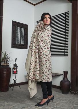 Sanaulla Exclusive Range Embroidered Pashmina  Shawl 19-AKP-61 Beige - Kashmiri Shawls