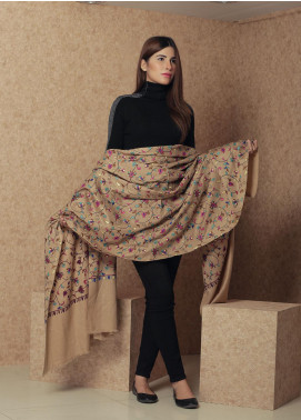 Sanaulla Exclusive Range Embroidered Pashmina  Shawl 19-AKP-63 Brown - Kashmiri Shawls