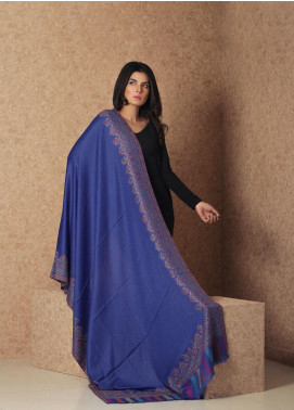 Sanaulla Exclusive Range Embroidered Pashmina  Shawl 19-AKP-65 Royal Blue - Kashmiri Shawls