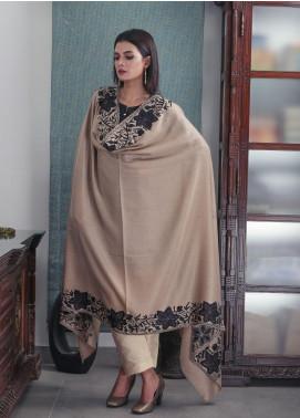 Sanaulla Exclusive Range Embroidered Pashmina  Shawl 19-AKP-87 Brown - Kashmiri Shawls