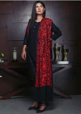 Sanaulla Exclusive Range Embroidered Pashmina Shawl 19-MIR-01 Black - Kashmiri Shawls