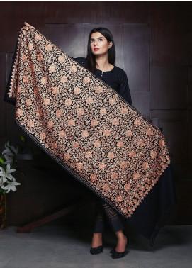 Sanaulla Exclusive Range Embroidered Pashmina Shawl 19-MIR-04 Black - Kashmiri Shawls
